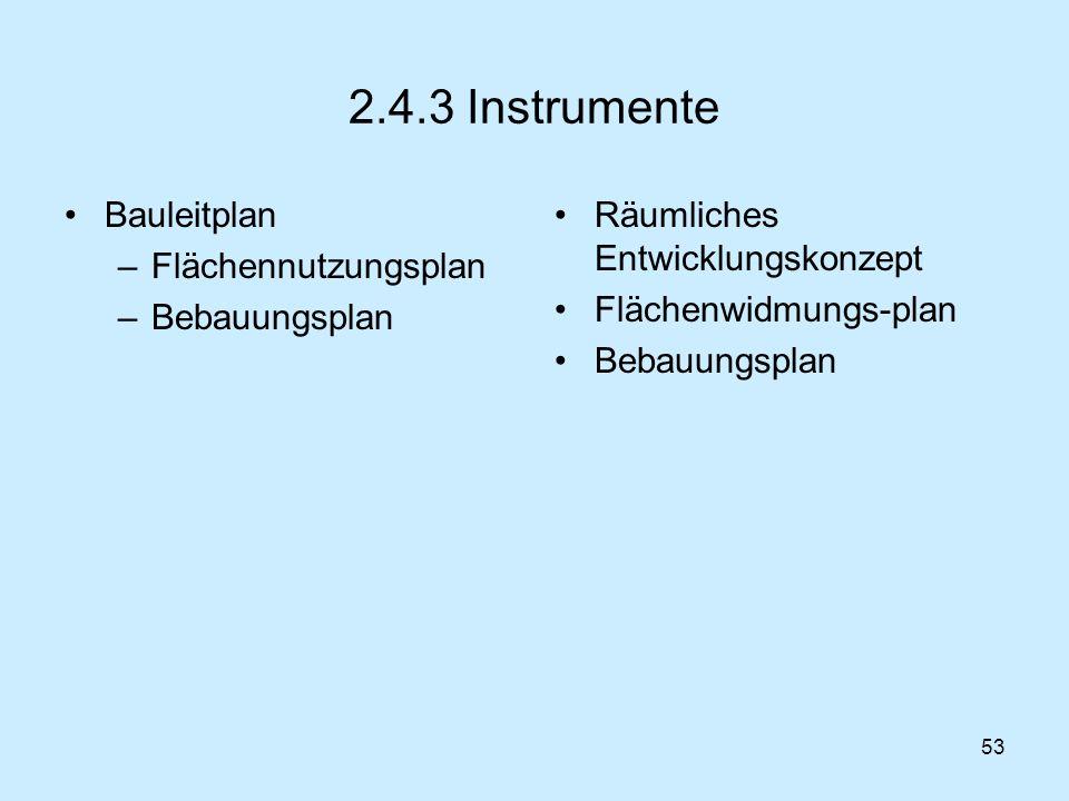 2.4.3 Instrumente Bauleitplan Flächennutzungsplan Bebauungsplan