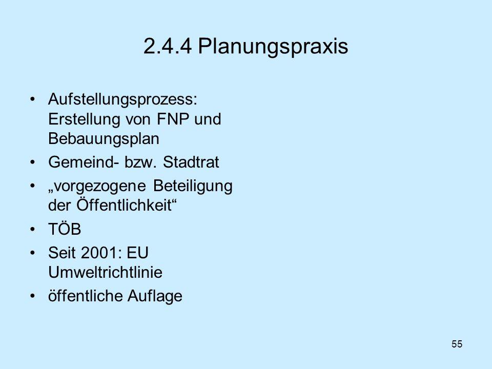 2.4.4 Planungspraxis Aufstellungsprozess: Erstellung von FNP und Bebauungsplan. Gemeind- bzw. Stadtrat.