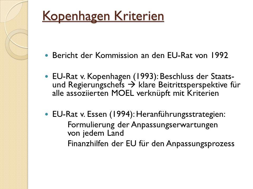 Kopenhagen Kriterien Bericht der Kommission an den EU-Rat von 1992