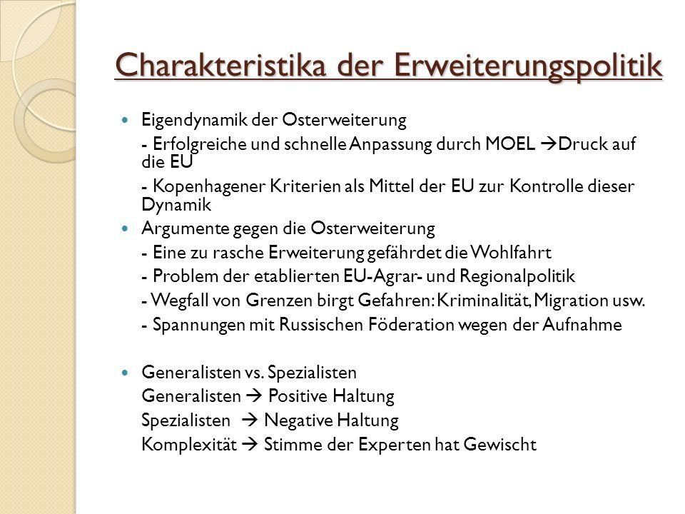 Charakteristika der Erweiterungspolitik