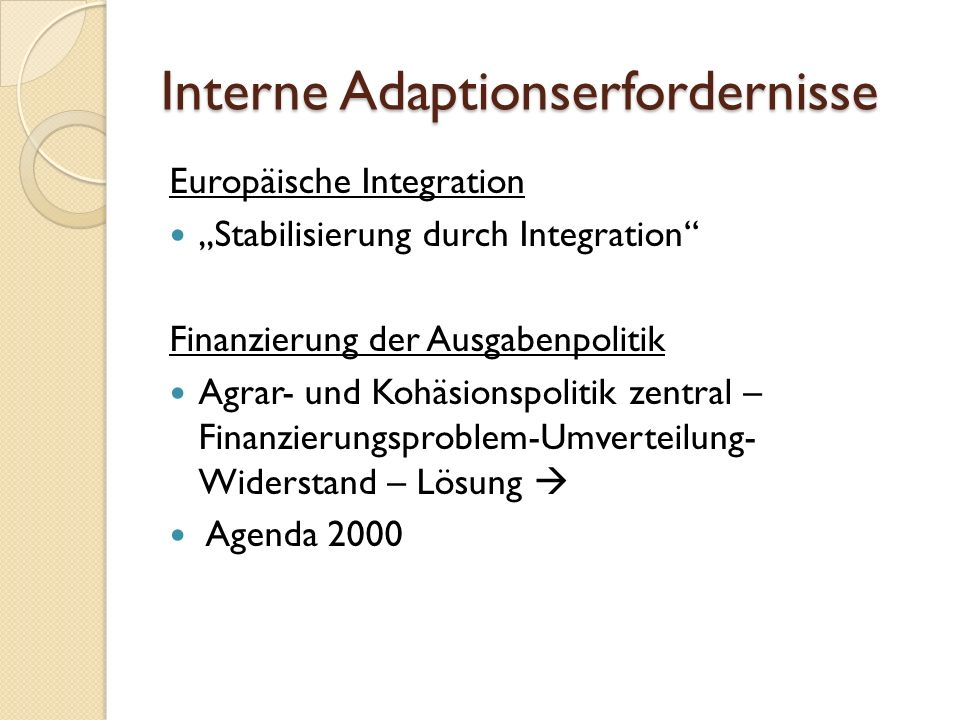Interne Adaptionserfordernisse