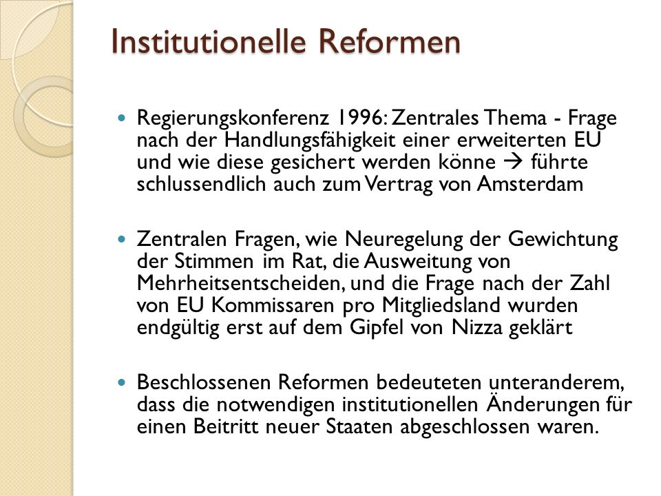 Institutionelle Reformen
