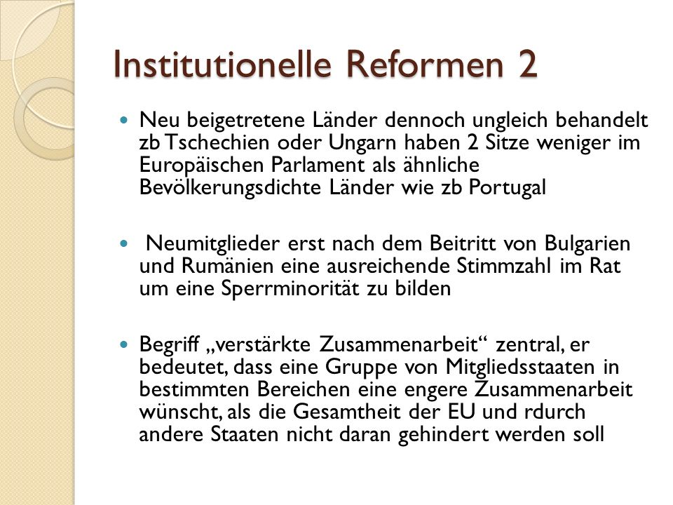 Institutionelle Reformen 2