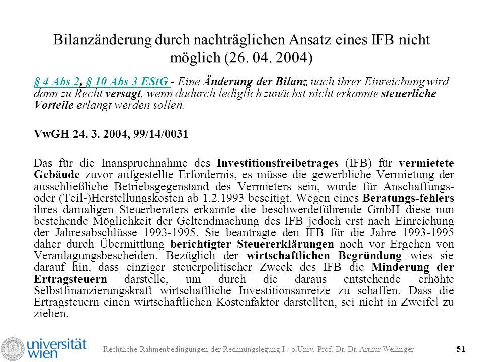 Bilanzänderung durch nachträglichen Ansatz eines IFB nicht möglich (26