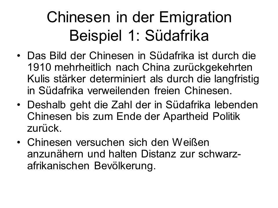 Chinesen in der Emigration Beispiel 1: Südafrika