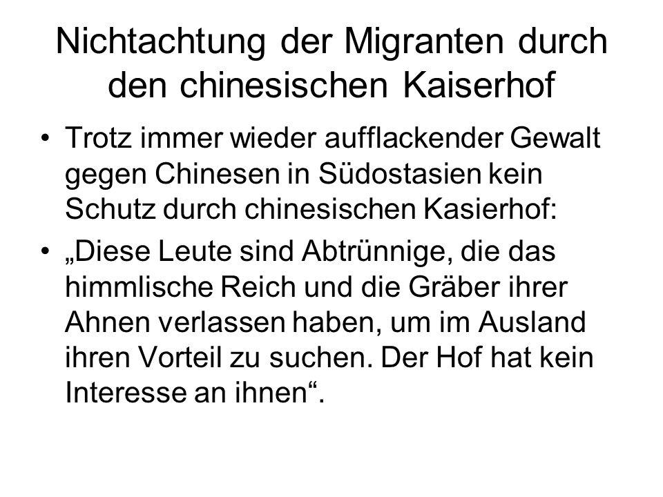 Nichtachtung der Migranten durch den chinesischen Kaiserhof