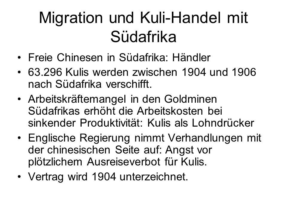 Migration und Kuli-Handel mit Südafrika
