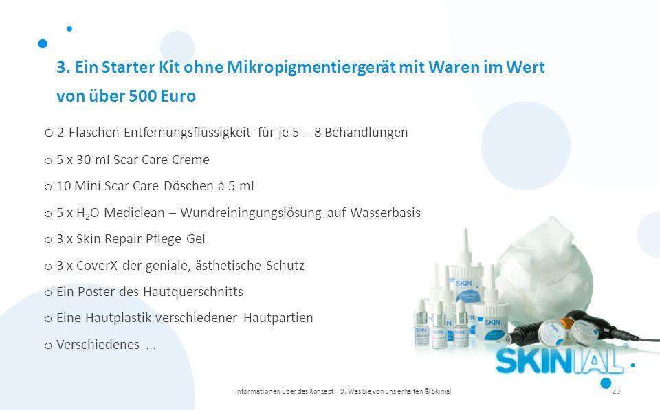 3. Ein Starter Kit ohne Mikropigmentiergerät mit Waren im Wert von über 500 Euro