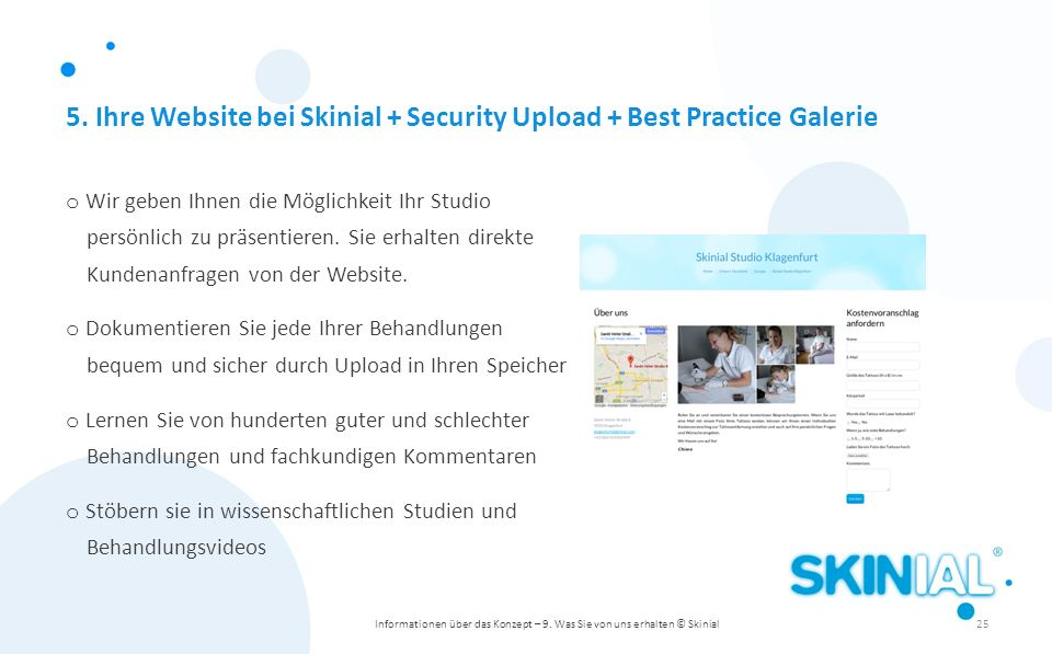 5. Ihre Website bei Skinial + Security Upload + Best Practice Galerie