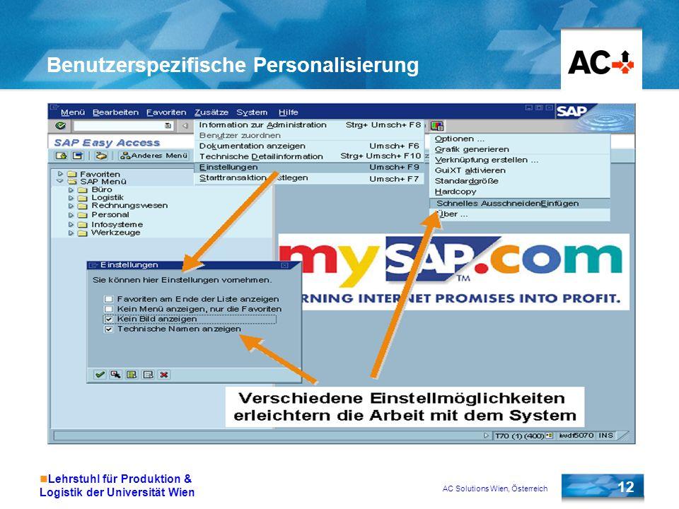 Benutzerspezifische Personalisierung