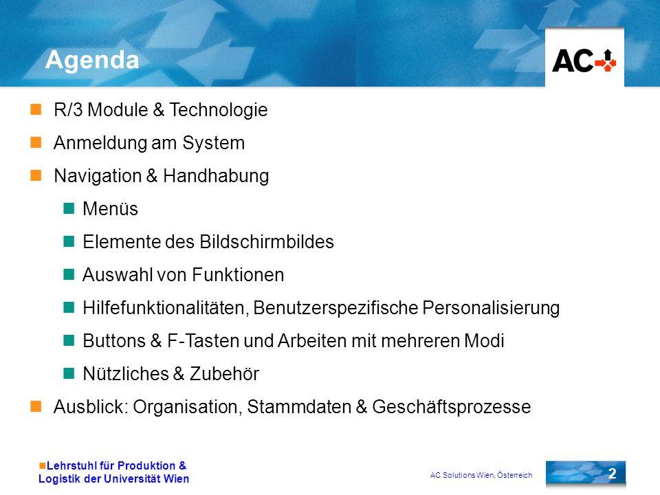 Agenda R/3 Module & Technologie Anmeldung am System