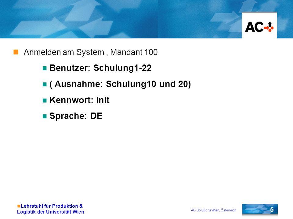 ( Ausnahme: Schulung10 und 20) Kennwort: init Sprache: DE