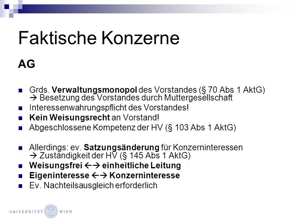 Faktische Konzerne AG. Grds. Verwaltungsmonopol des Vorstandes (§ 70 Abs 1 AktG)  Besetzung des Vorstandes durch Muttergesellschaft.