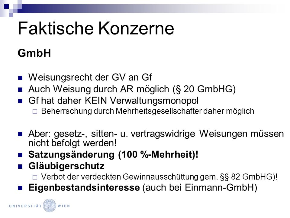 Faktische Konzerne GmbH Weisungsrecht der GV an Gf