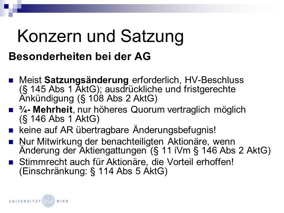 Konzern und Satzung Besonderheiten bei der AG