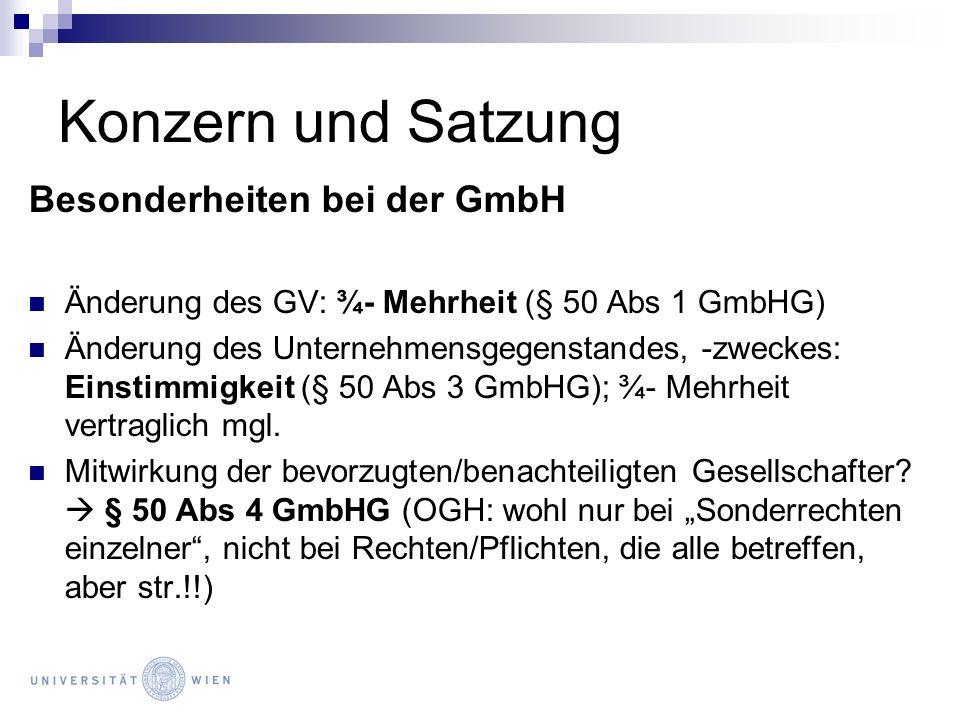 Konzern und Satzung Besonderheiten bei der GmbH