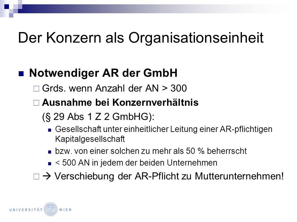 Der Konzern als Organisationseinheit