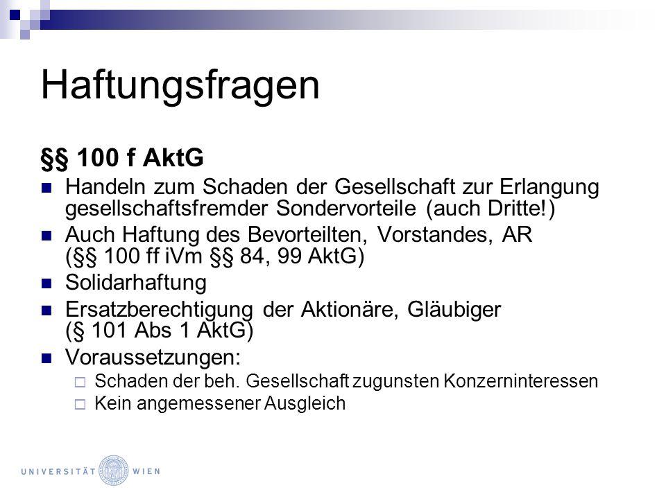 Haftungsfragen §§ 100 f AktG