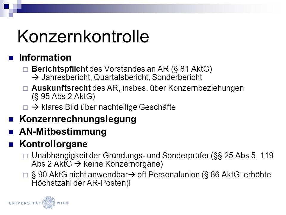 Konzernkontrolle Information Konzernrechnungslegung AN-Mitbestimmung