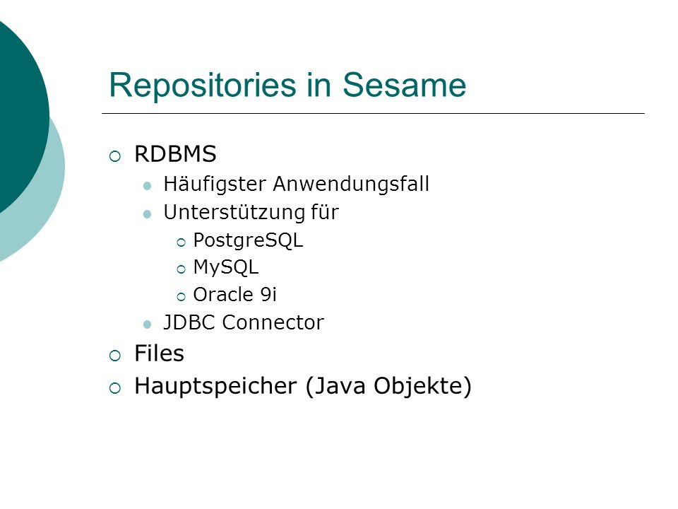Repositories in Sesame