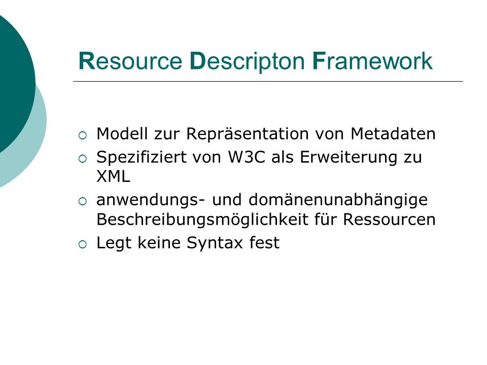 Resource Descripton Framework