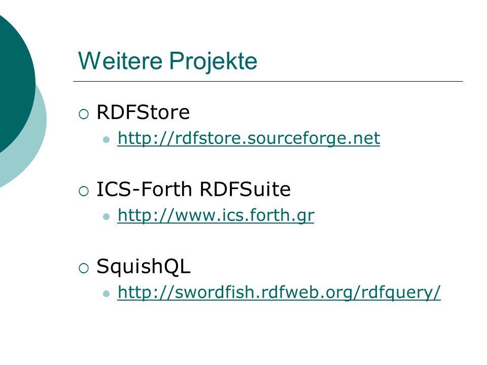 Weitere Projekte RDFStore ICS-Forth RDFSuite SquishQL
