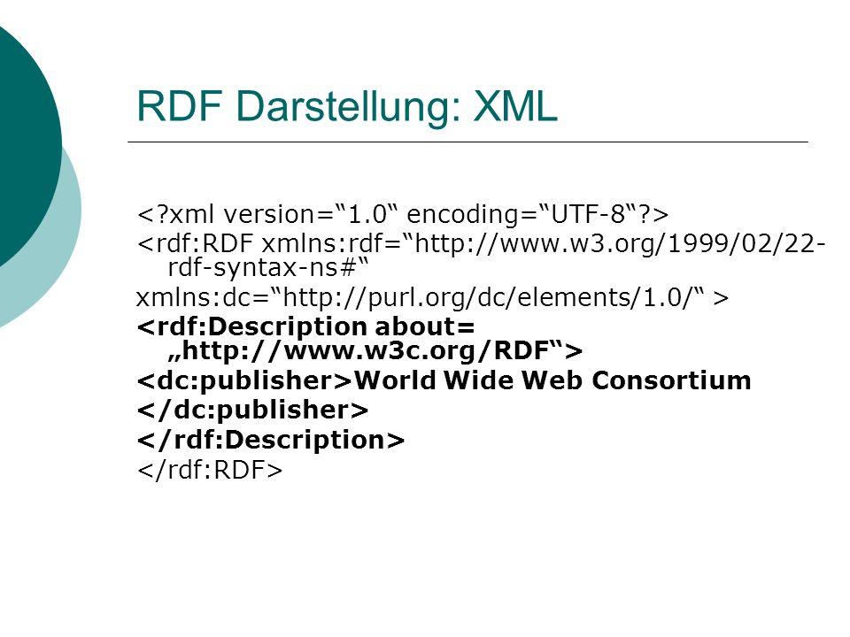 RDF Darstellung: XML < xml version= 1.0 encoding= UTF-8 >