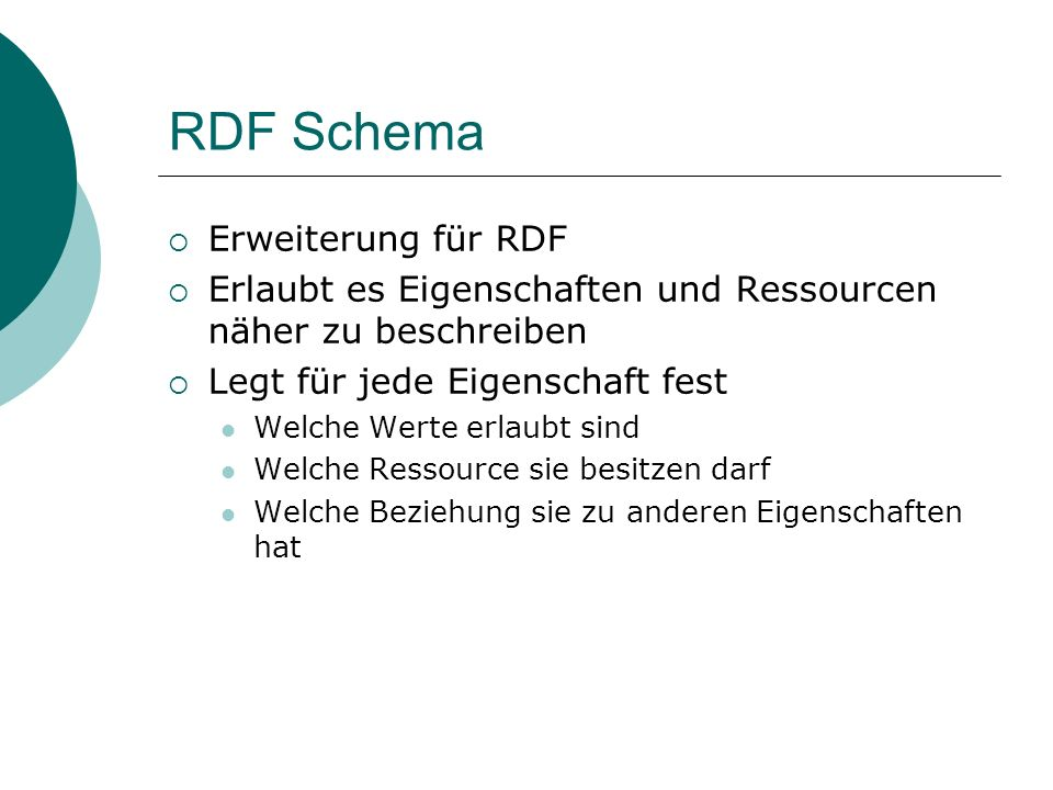 RDF Schema Erweiterung für RDF