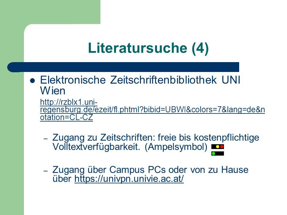Literatursuche (4) Elektronische Zeitschriftenbibliothek UNI Wien