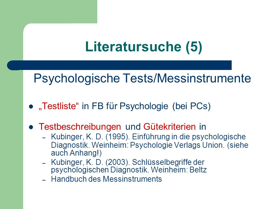 Psychologische Tests/Messinstrumente