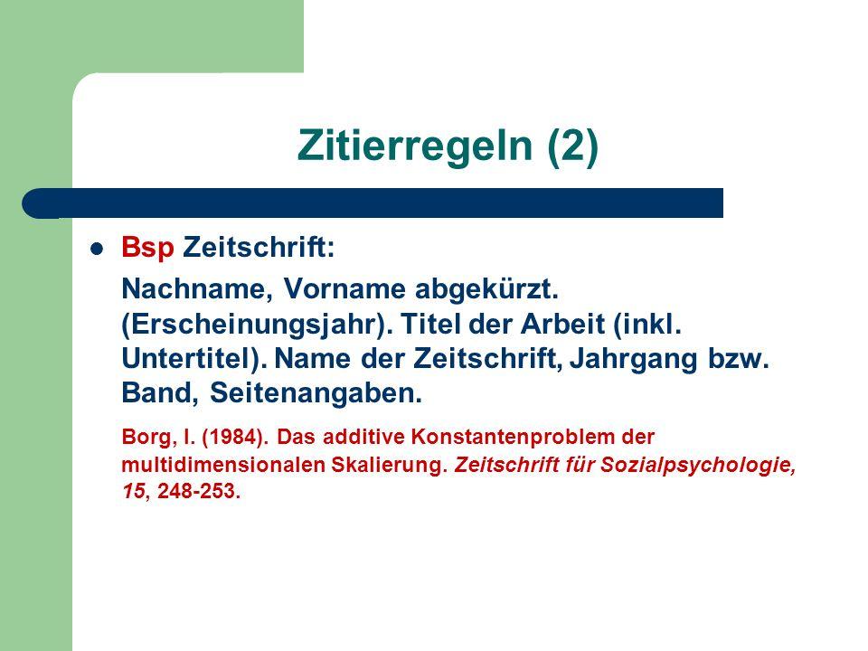 Zitierregeln (2) Bsp Zeitschrift: