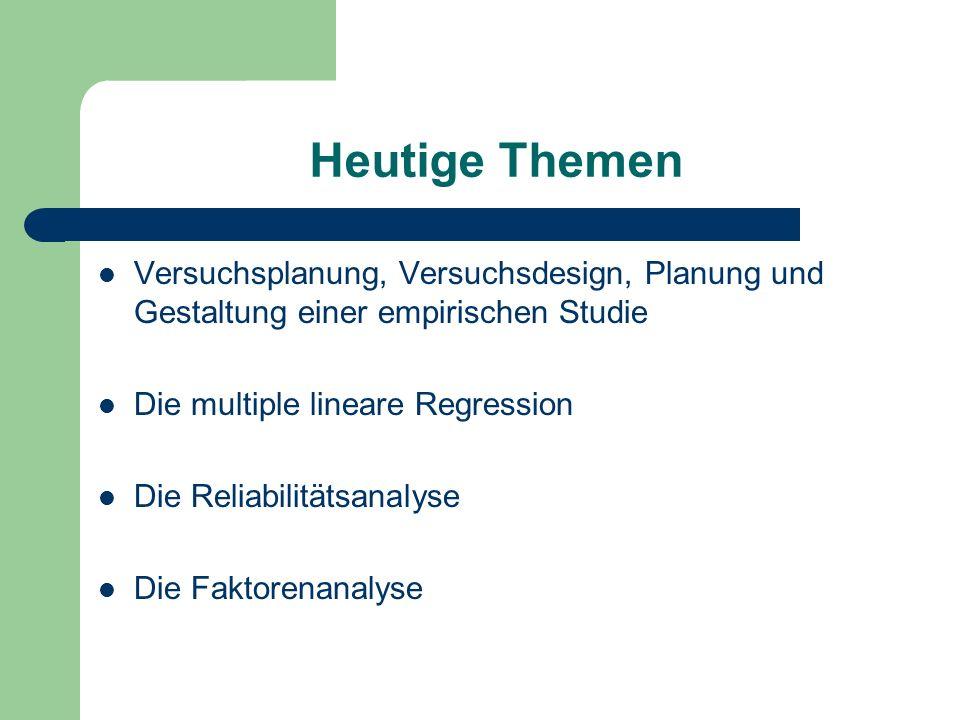 Heutige Themen Versuchsplanung, Versuchsdesign, Planung und Gestaltung einer empirischen Studie. Die multiple lineare Regression.