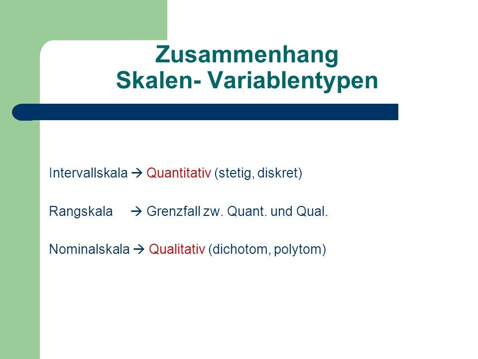 Zusammenhang Skalen- Variablentypen