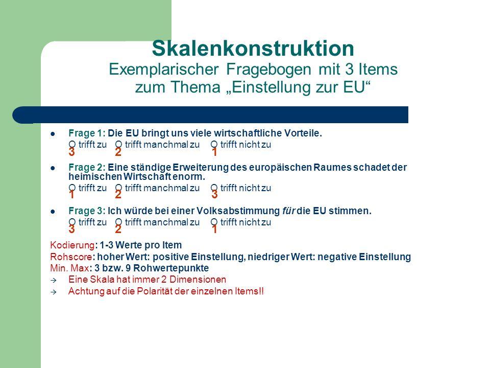 """Skalenkonstruktion Exemplarischer Fragebogen mit 3 Items zum Thema """"Einstellung zur EU"""