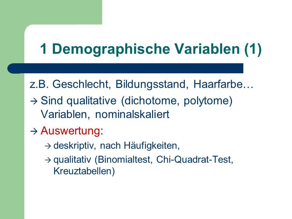 1 Demographische Variablen (1)