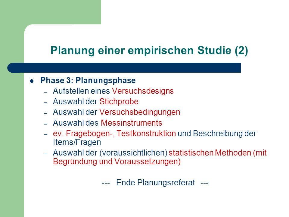 Planung einer empirischen Studie (2)