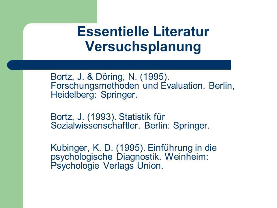 Essentielle Literatur Versuchsplanung