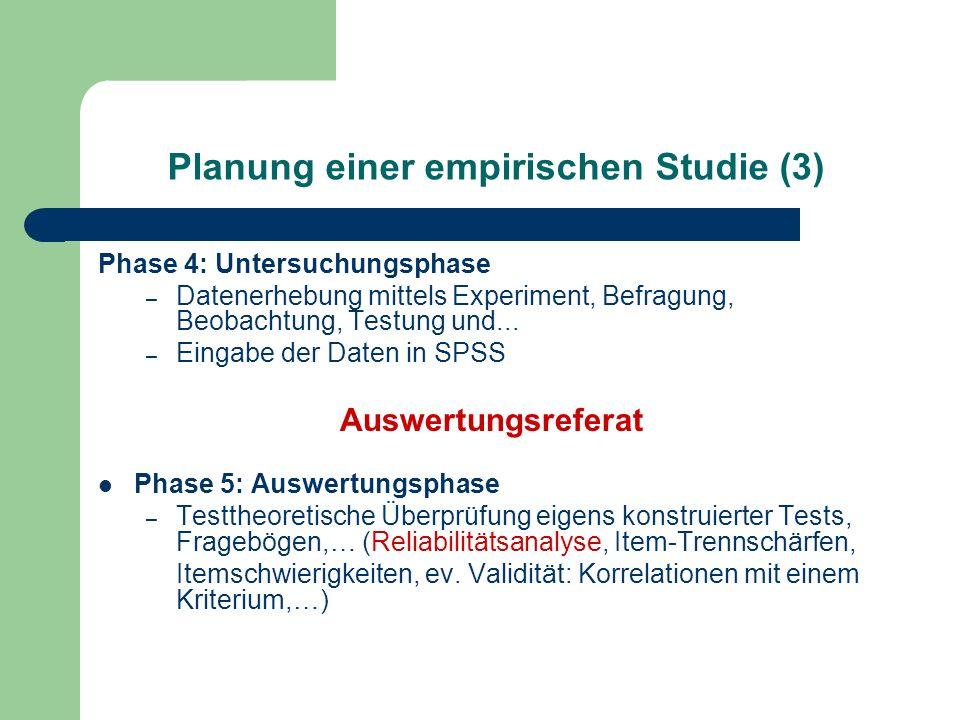 Planung einer empirischen Studie (3)