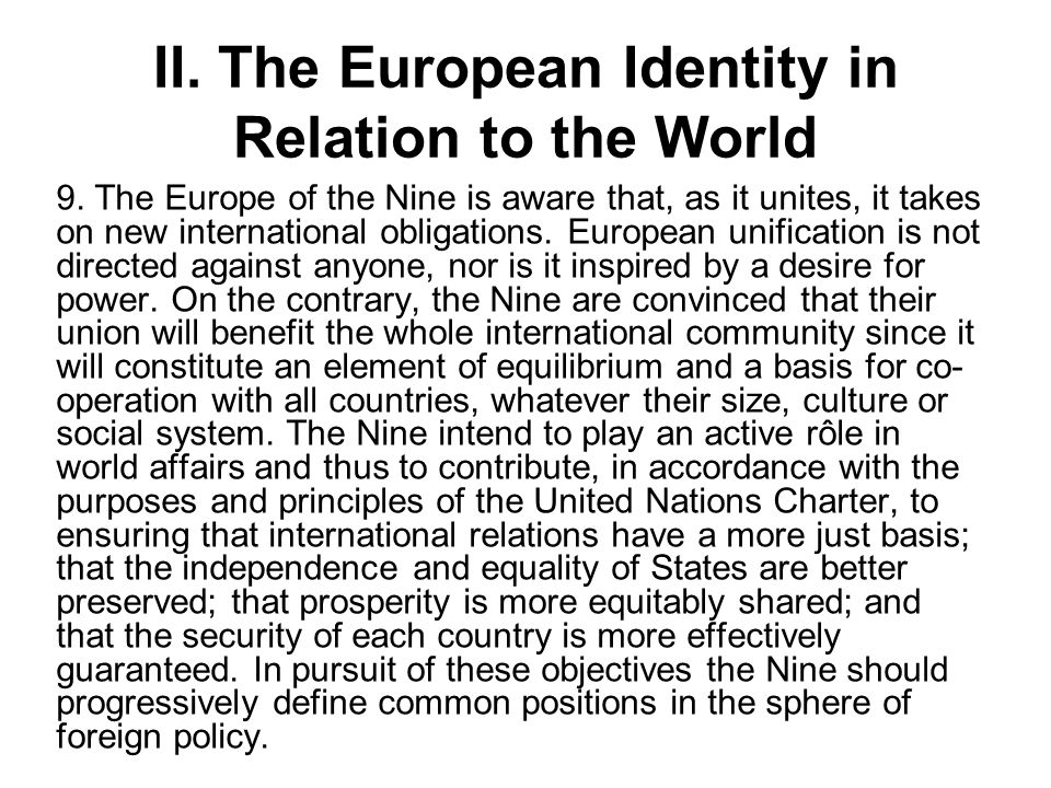 II. The European Identity in Relation to the World