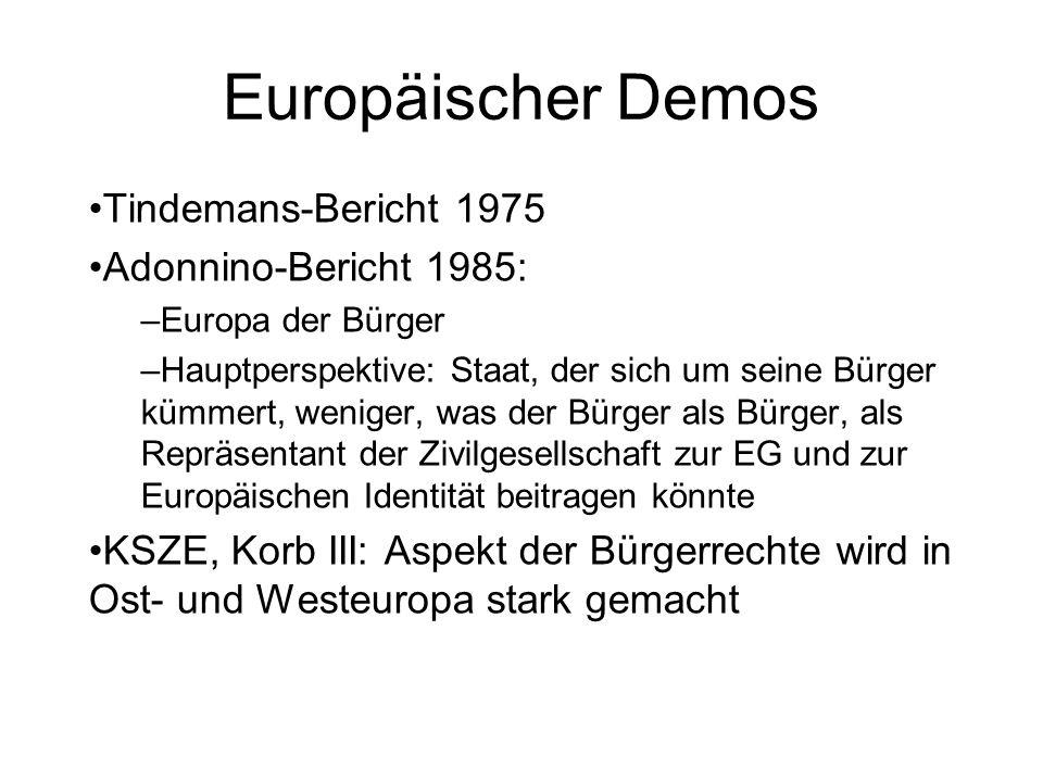 Europäischer Demos Tindemans-Bericht 1975 Adonnino-Bericht 1985: