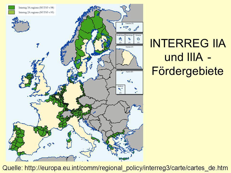 INTERREG IIA und IIIA - Fördergebiete