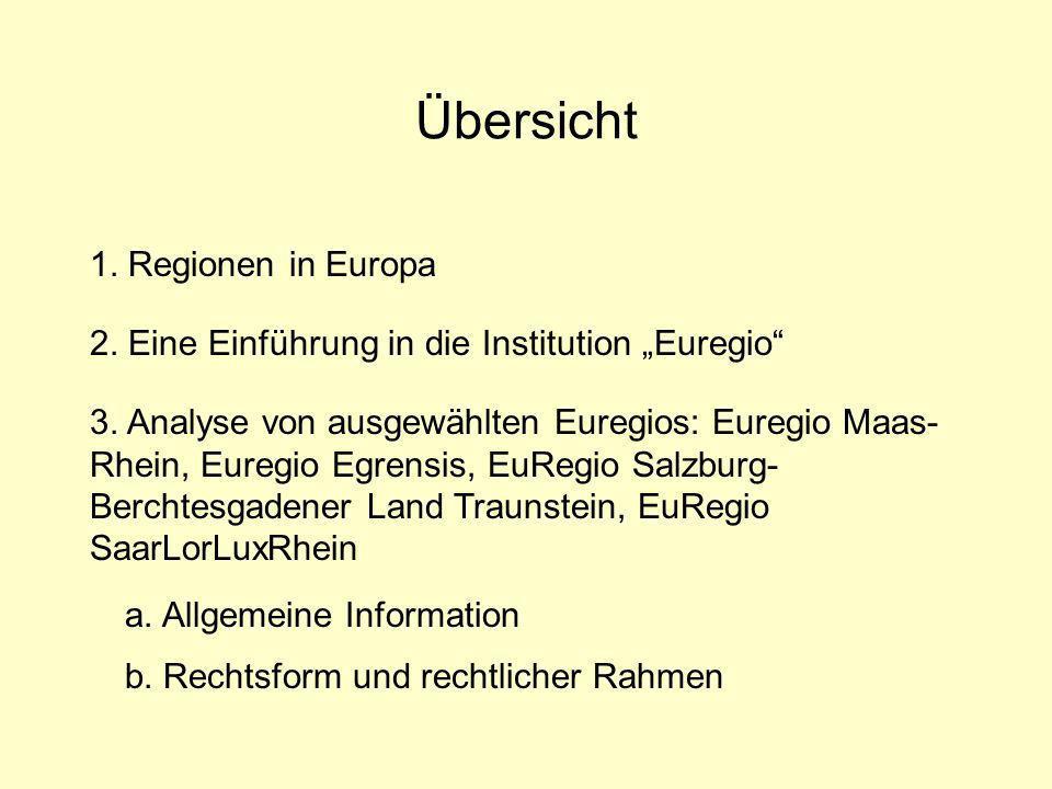Übersicht 1. Regionen in Europa