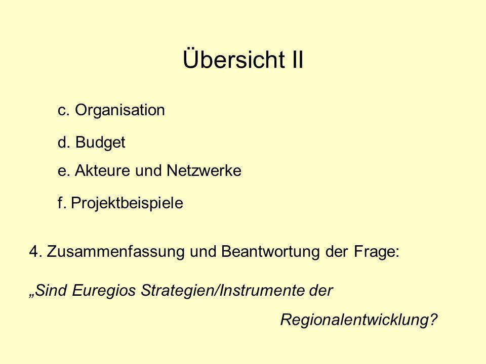 Übersicht II c. Organisation d. Budget e. Akteure und Netzwerke