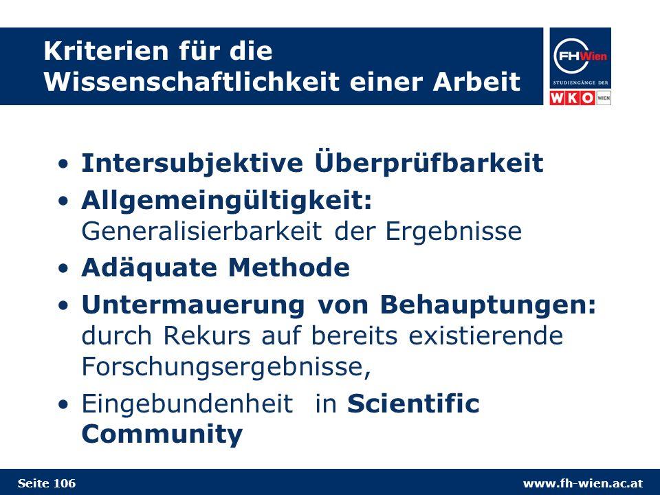 Kriterien für die Wissenschaftlichkeit einer Arbeit