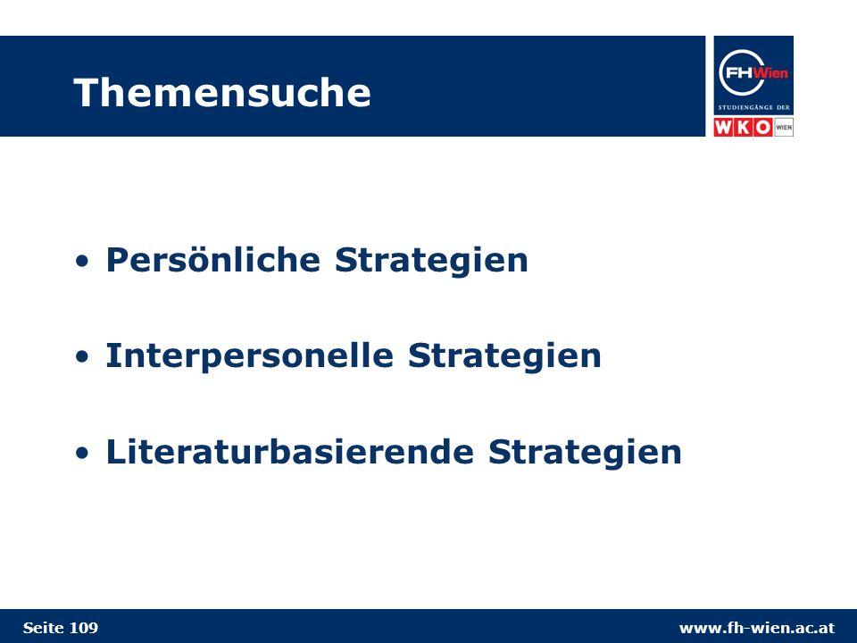 Themensuche Persönliche Strategien Interpersonelle Strategien