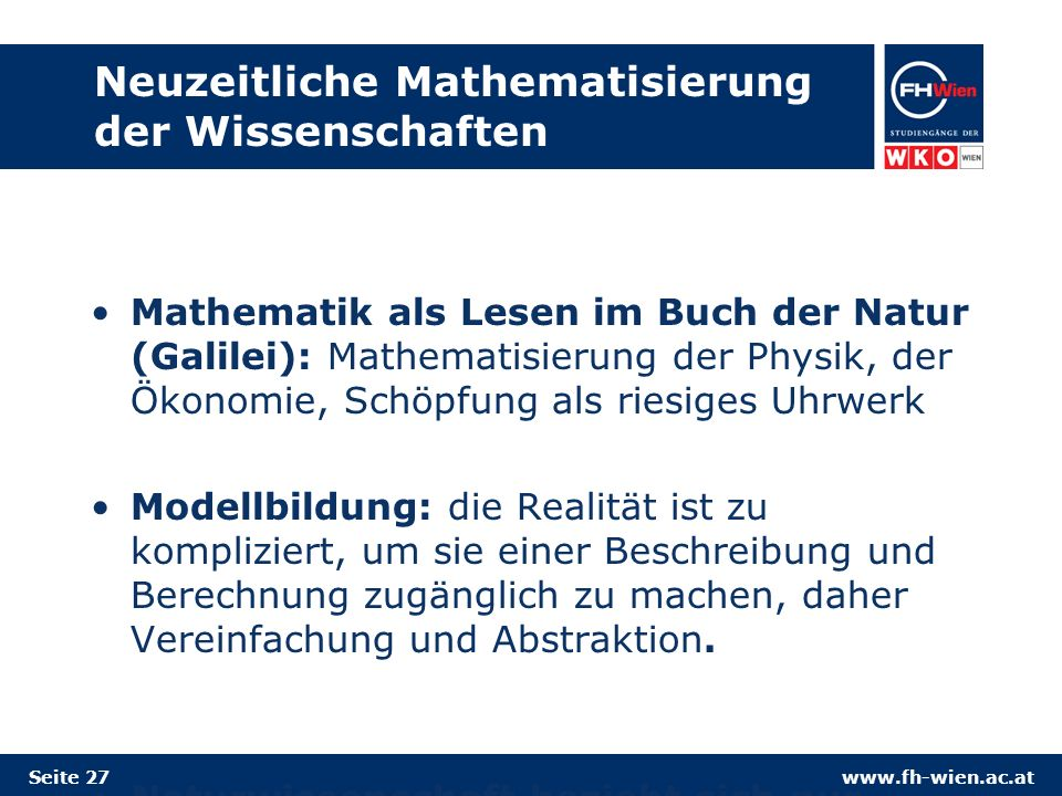 Neuzeitliche Mathematisierung der Wissenschaften