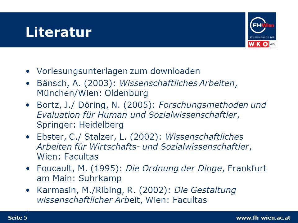 Literatur Vorlesungsunterlagen zum downloaden