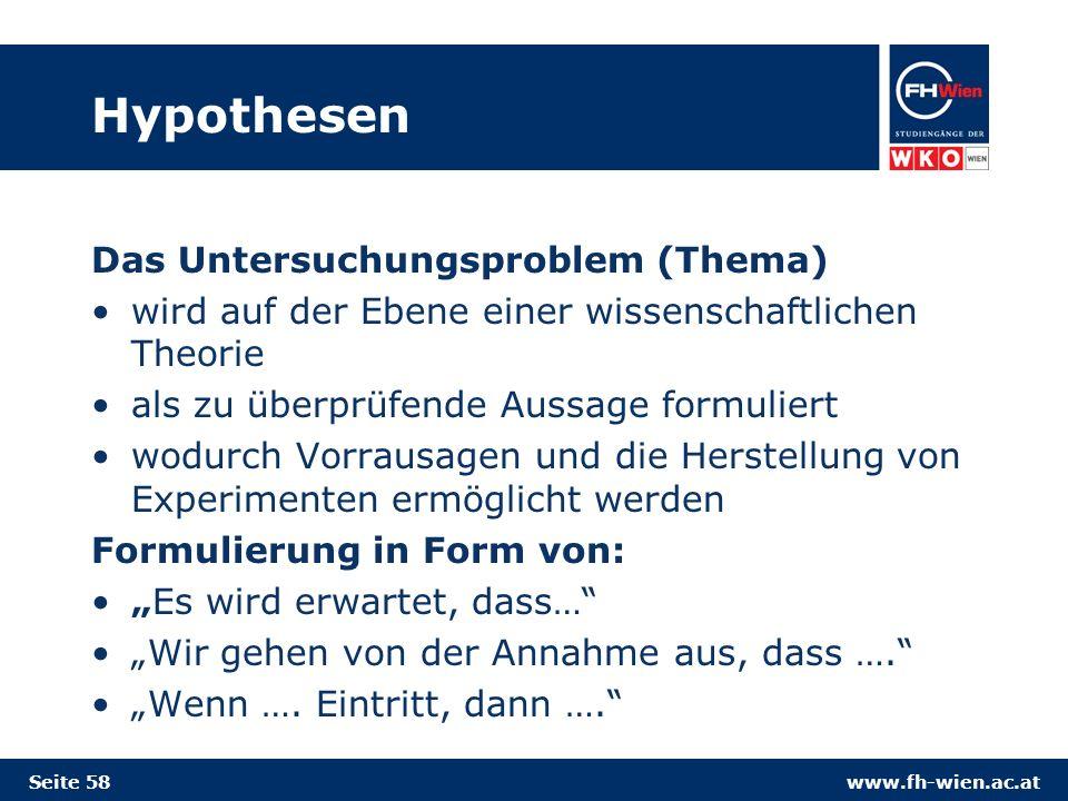 Hypothesen Das Untersuchungsproblem (Thema)