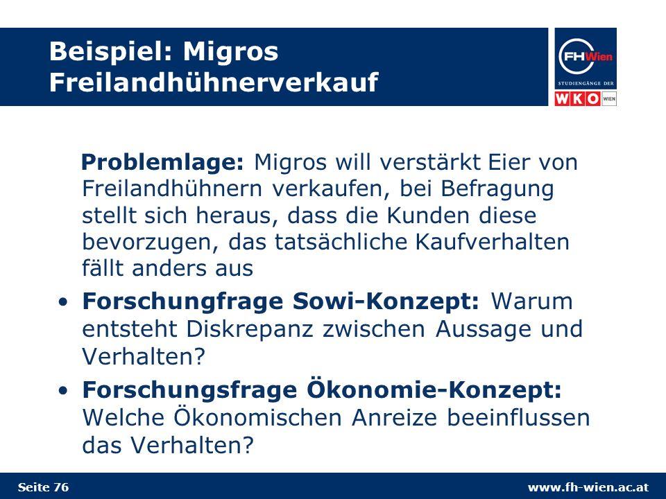 Beispiel: Migros Freilandhühnerverkauf