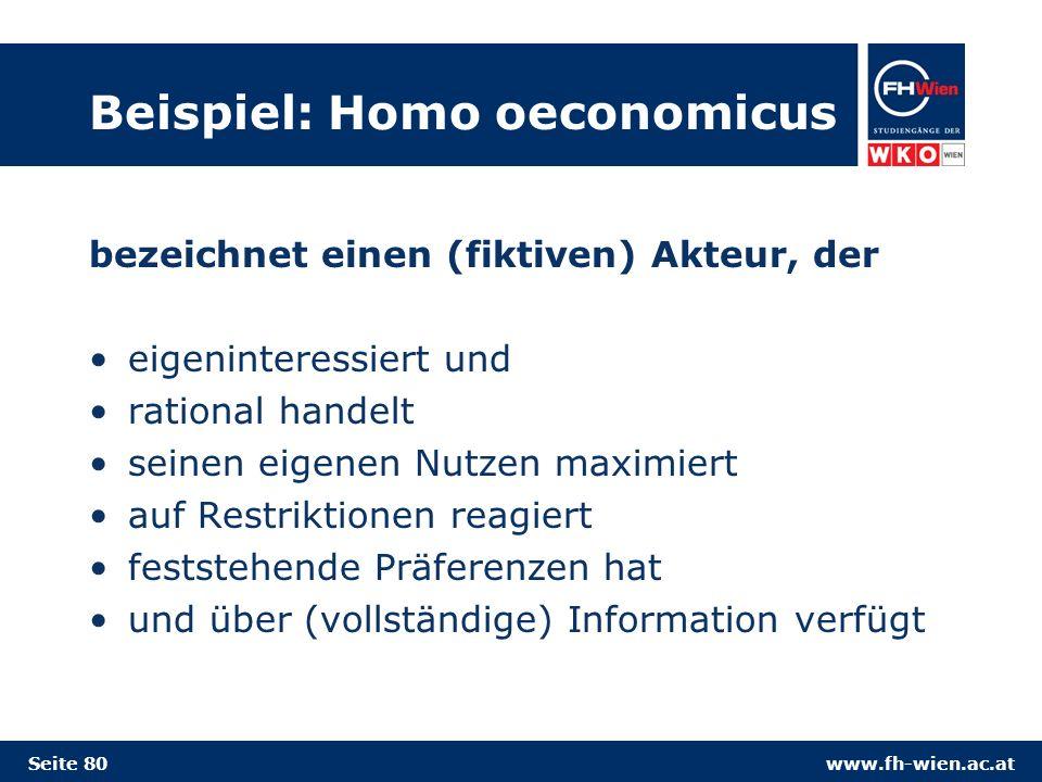 Beispiel: Homo oeconomicus